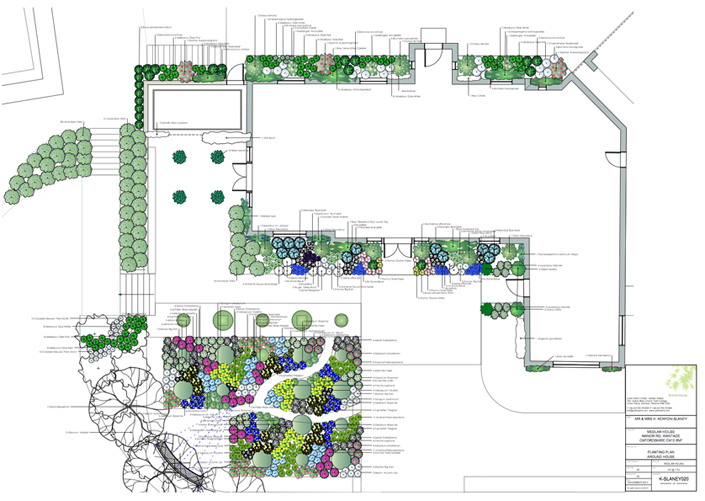 Garden Designer Justin Spink Planting plan and Schedules